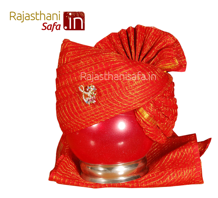 Uniquely Designed Red Color Wedding Turban