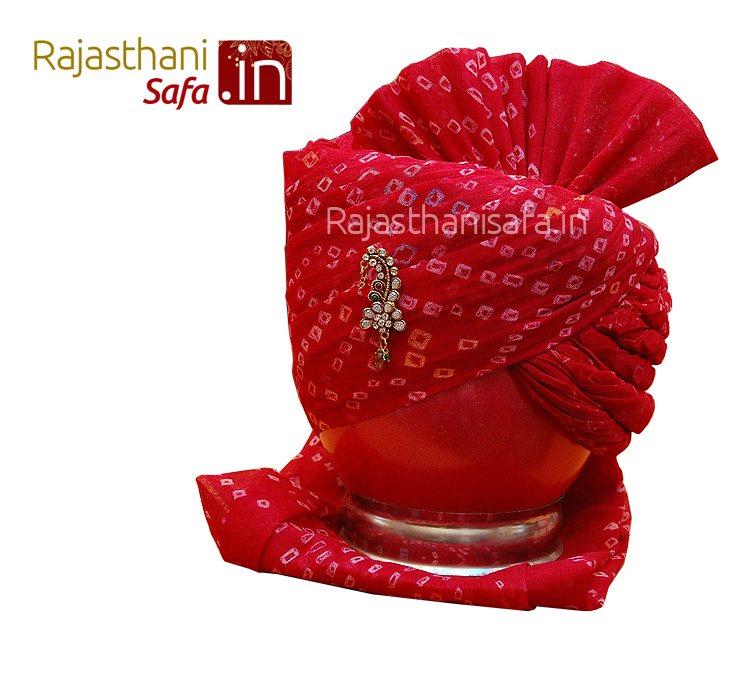 Red Color Stylish Wedding Turban