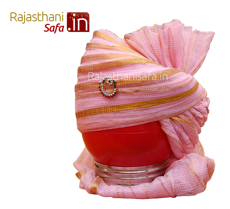 Muslim Style Pink Color Stylish Wedding Turban
